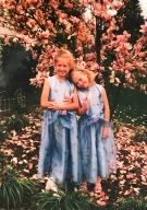 My sister and I in our front yard by our crepe myrtle in 1999