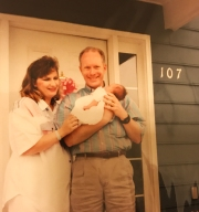 Mom and Dad bring me to the hospital after my birth, May 11, 1993